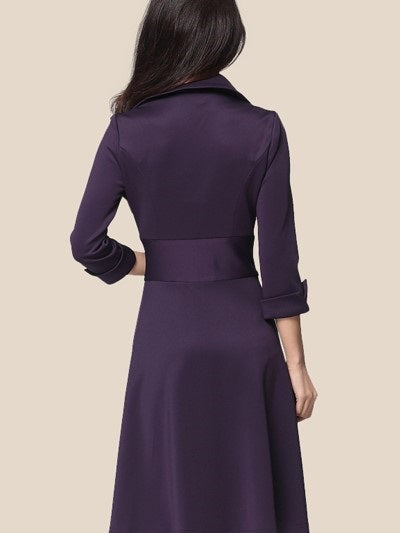 Long Sleeve Knee-Length Plain Single-Breasted Dress