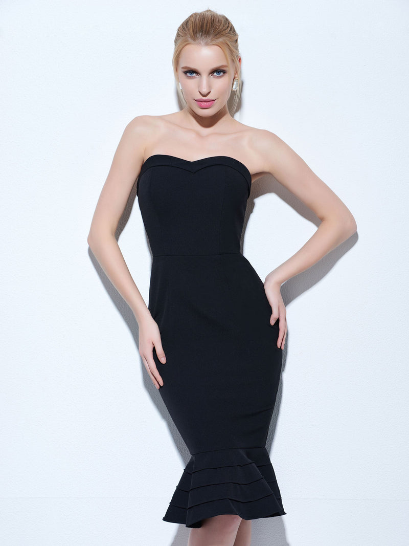 Size US6 Strapless Knee-Length Black Trumpet/Mermaid Celebrity Party Dress