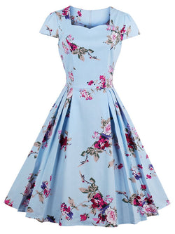 Print Short Sleeve Square Neck Floral Zipper Dress