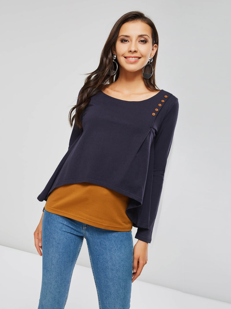 Long Sleeve Color Block Standard Fall Straight T-Shirt
