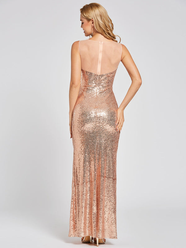 Sequins Sleeveless Sheath/Column Scoop Formal Party Dress