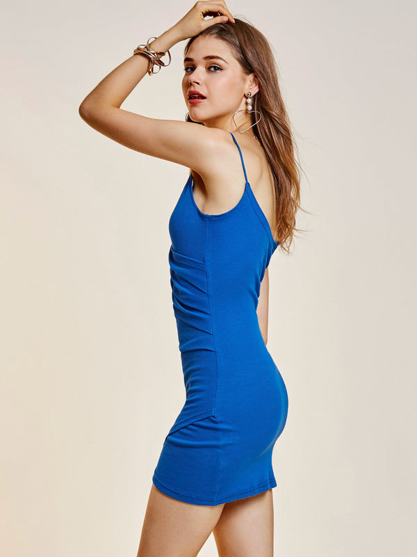 Sleeveless Above Knee V-Neck Bodycon Pullover Dress