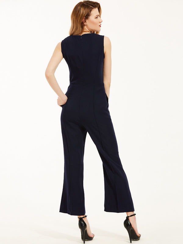 Size 10 Ankle Length Button Plain Wide Legs Slim Jumpsuit
