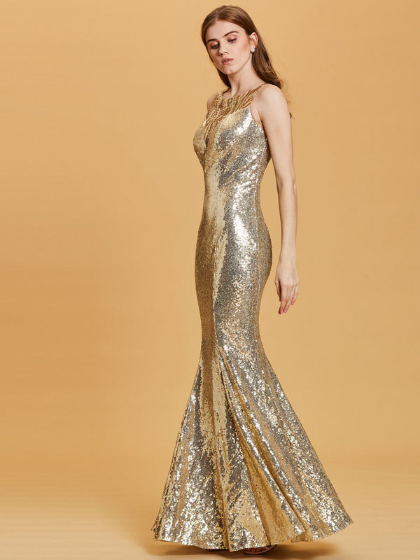 Floor-Length Trumpet/Mermaid Sleeveless Yellow Formal Party Dress