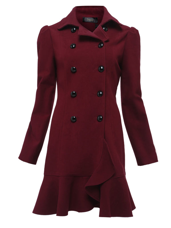 Size S Falbala Double-Breasted Slim Mid-Length Petite Overcoat