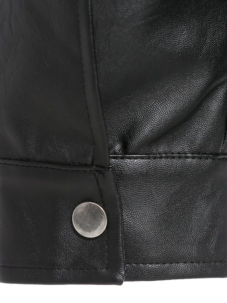 Plus Size Plain Standard Lapel Fall Zipper Leather Jacket