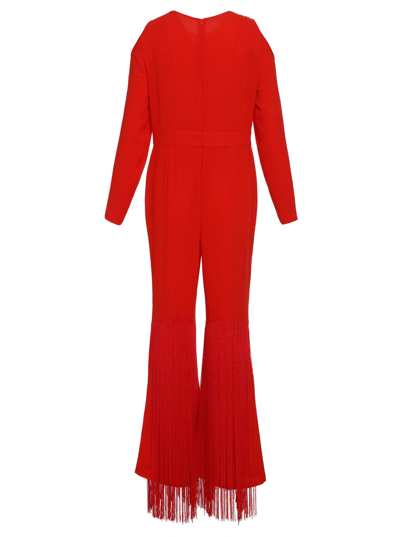 Full Length Plain Hollow Wide Legs Slim Jumpsuit