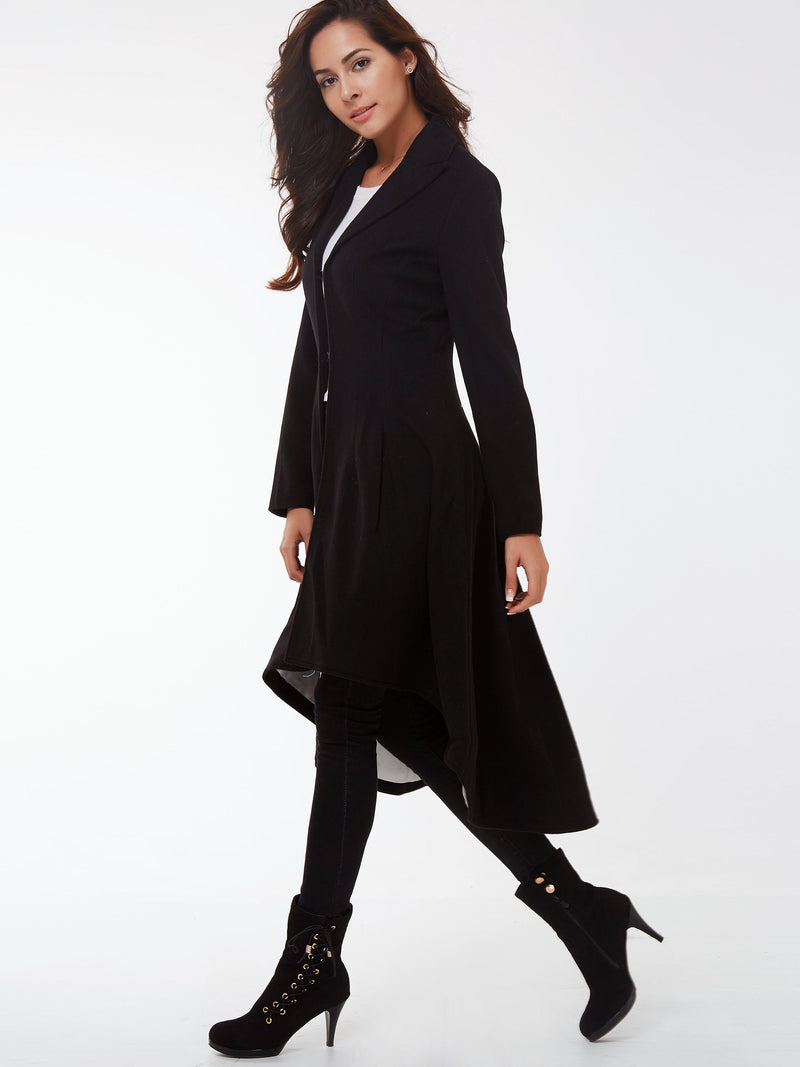 Size XS  Petite Pleated Long Winter Irregular Petite Trench Coat