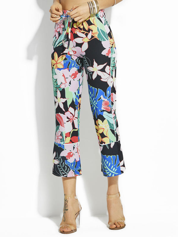 Floral Print Loose Wide Legs Full Length Casual Pants