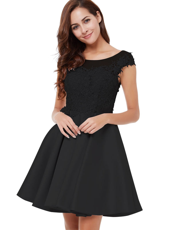 Gray A-Line Cap Sleeves Short/Mini Cocktail Party Dress