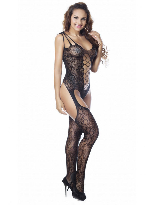 Lace Plain Crotchless Tight Wrap Sleeveless Nylon Teddies & Bodysuits
