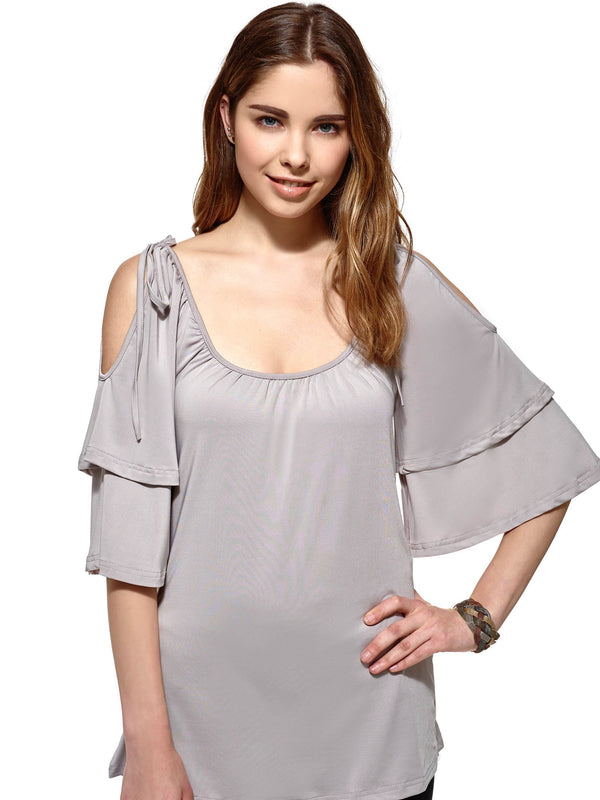 Round Neck Standard Three-Quarter Sleeve Loose Spring T-Shirt