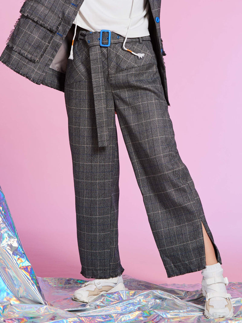 Size L Pocket Loose Plaid Ankle Length Wide Legs Casual Pants