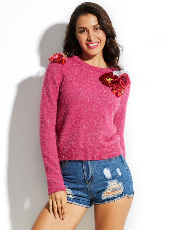 Size S Appliques Straight Round Neck Petite Sweater