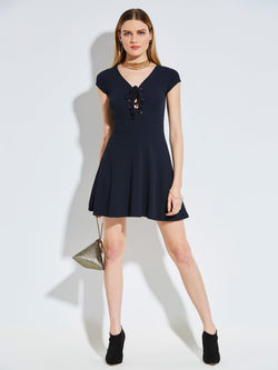 V-Neck Above Knee Short Sleeve A-Line Pullover Dress
