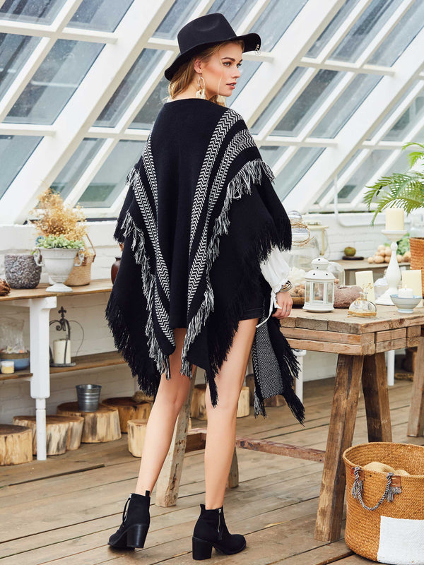 Acrylic Stripe Fall Cape