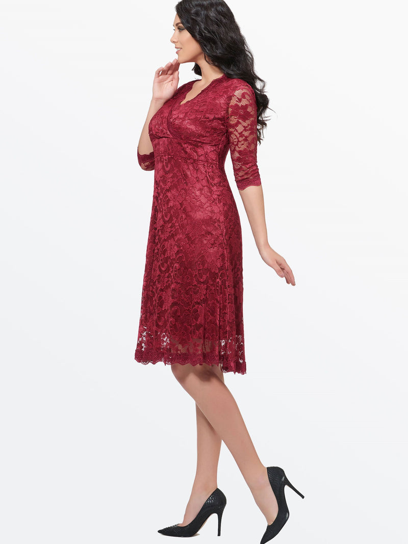 Plus Size Half Sleeve Knee-Length V-Neck Expansion Summer Dress