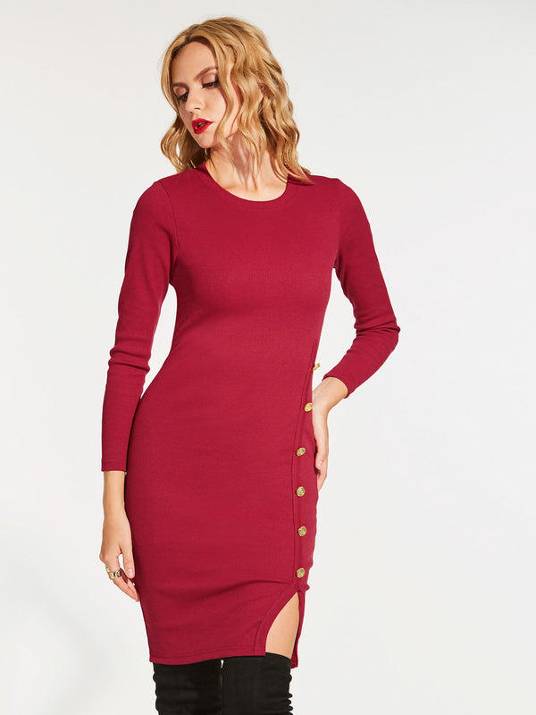 Size M Knee-Length Long Sleeve Round Neck Pullover Regular Dress