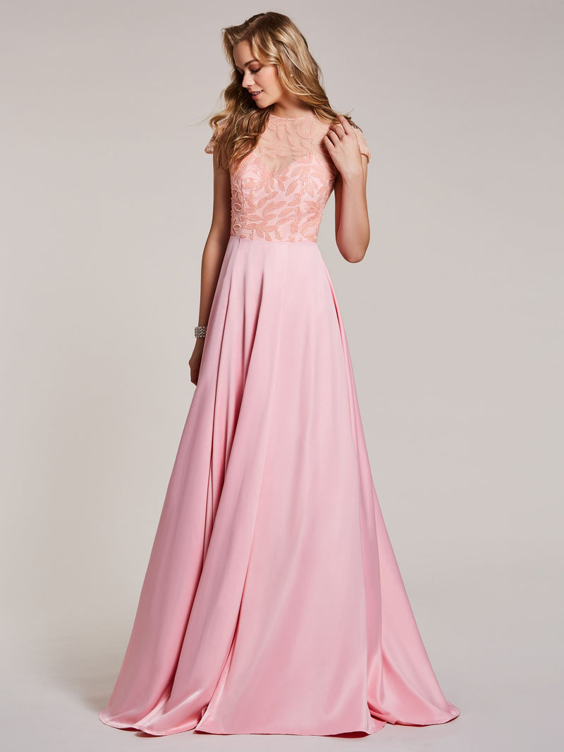 Cap Sleeves A-Line Beading Pink Evening Party Dress