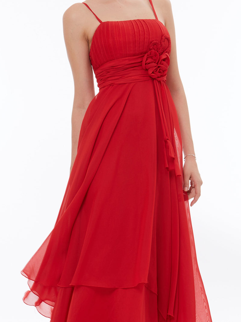 Ruched A-Line Red Spaghetti Straps Formal Party Dress