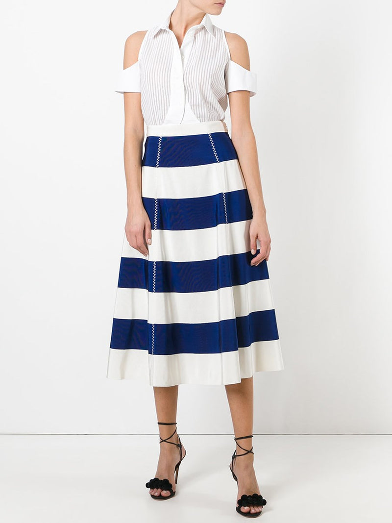 A-Line Stripe Mid-Calf Skirt