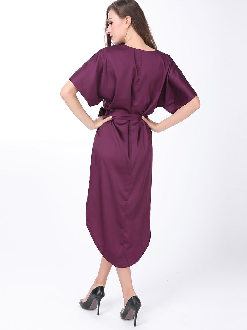 Short Sleeve Round Neck Above Knee Plain Asymmetrical Dress