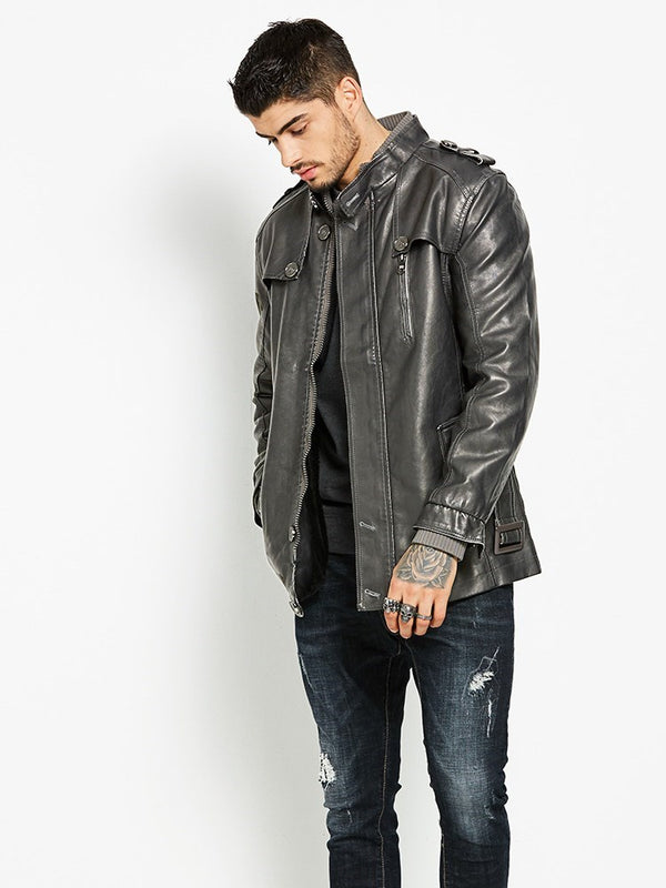 Mid-Length Stand Collar Plain Zipper Slim Leather Jacket
