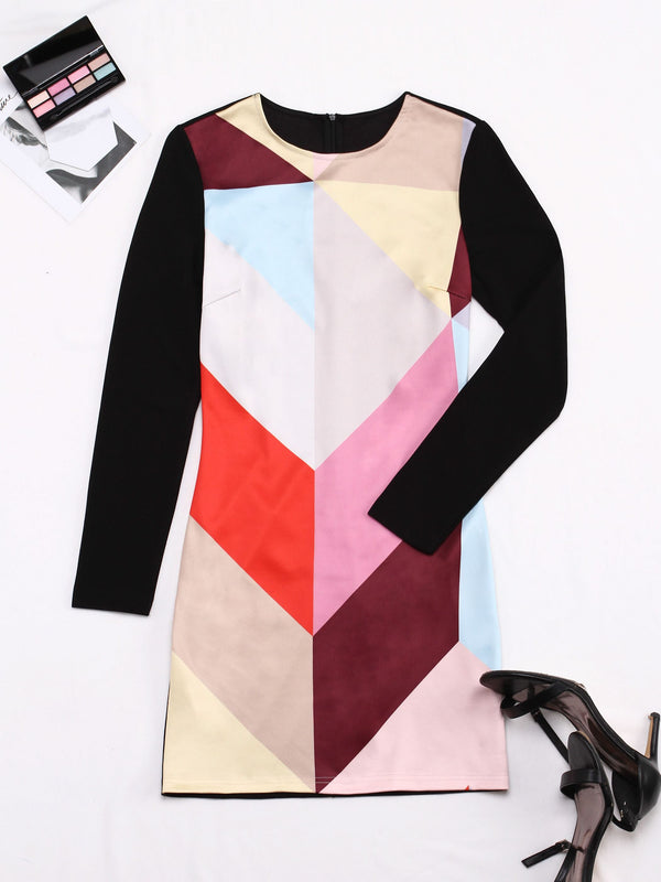 Size L Long Sleeve Above Knee Round Neck Regular Color Block Dress