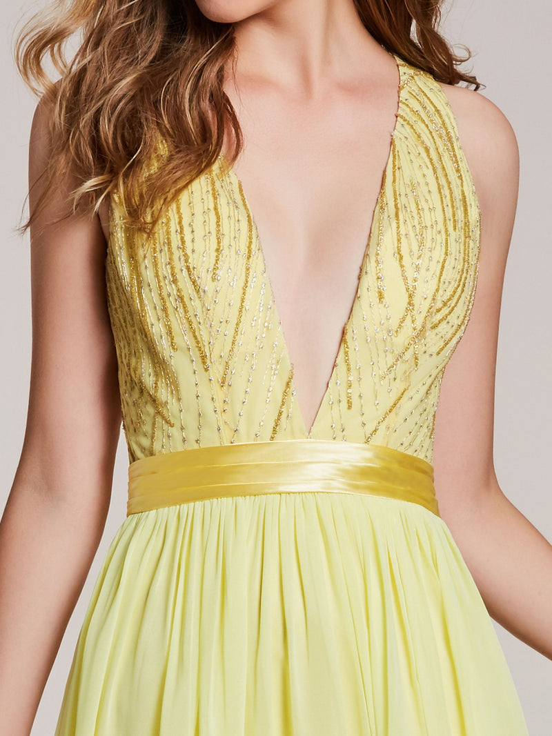 Sleeveless Yellow V-Neck Floor-Length Formal Party Dress