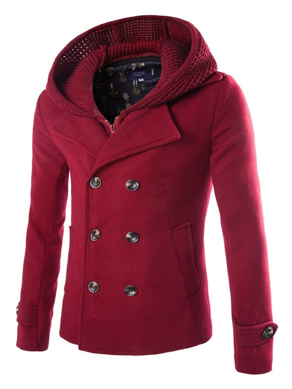 Plain Hooded Patchwork England Fall Coat