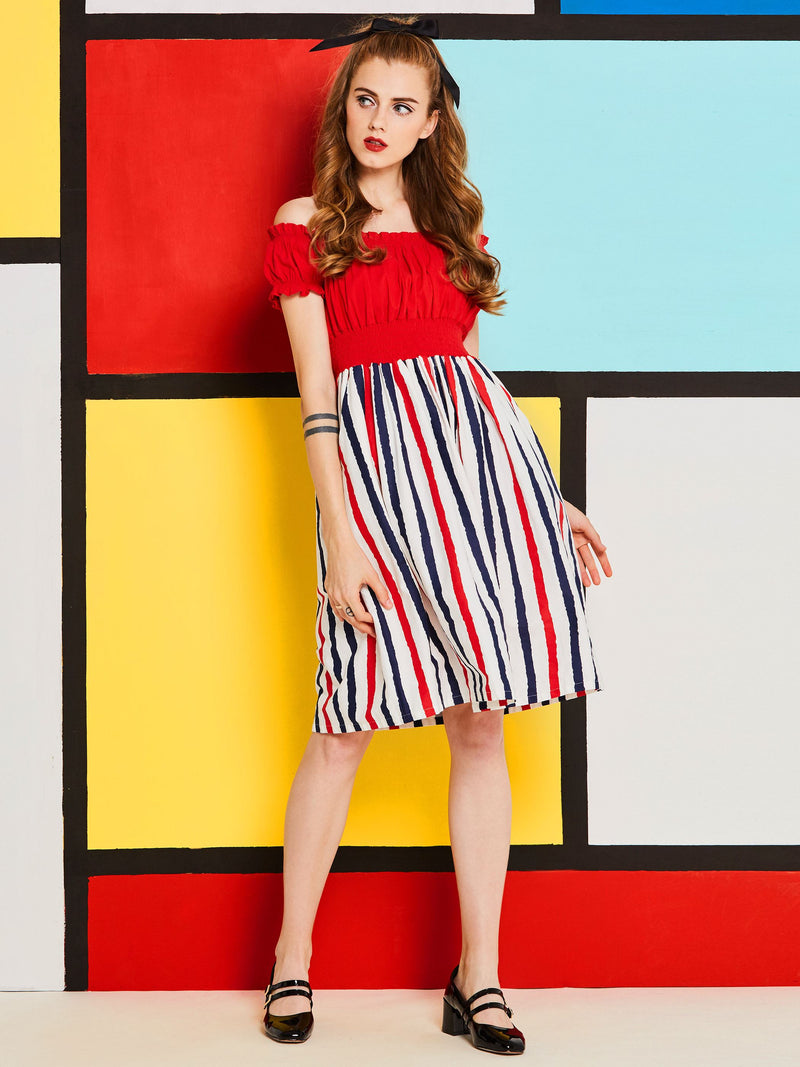Knee-Length Short Sleeve Pullover A-Line Dress