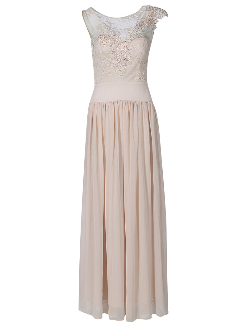 A-Line Appliques Sleeveless Scoop Evening Party Dress