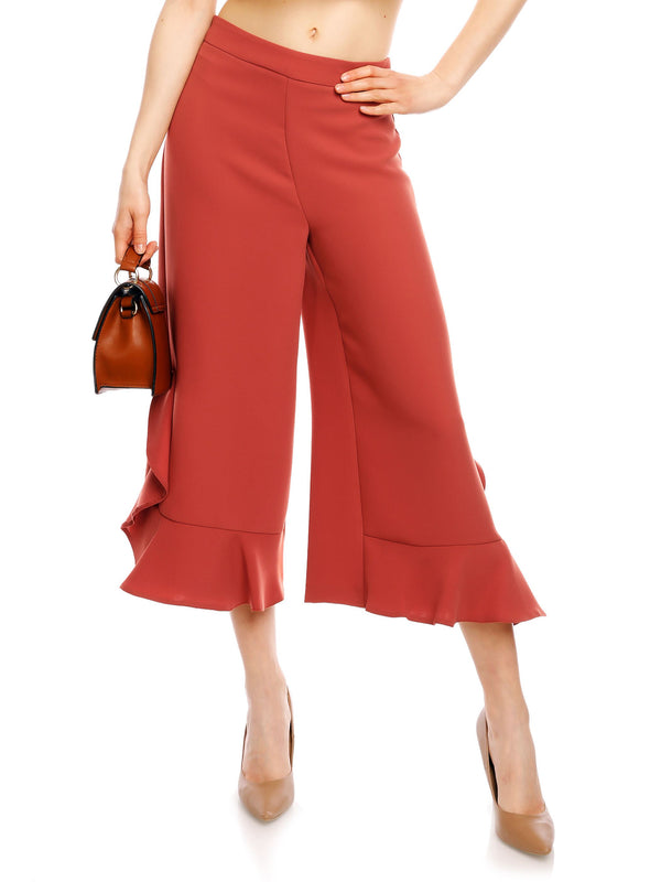 Size M Plain Falbala Loose Ankle Length Wide Legs Casual Pants