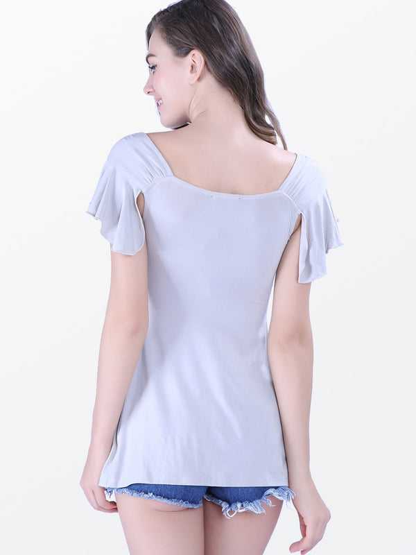 V-Neck Plain Standard Summer Slim T-Shirt
