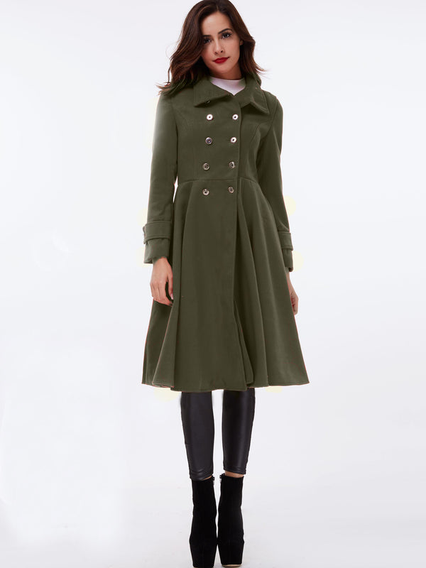 Double-Breasted Slim Regular Long Stand Collar Overcoat