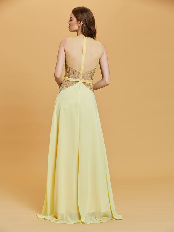 Scoop Yellow Sleeveless Lace Formal Party Dress