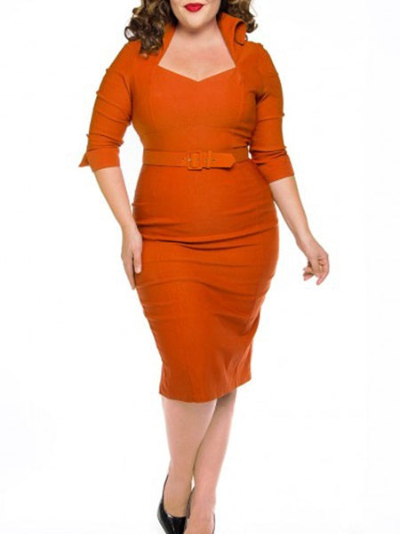 Three-Quarter Sleeve Square Neck Mid-Calf Plain Pencil Dress