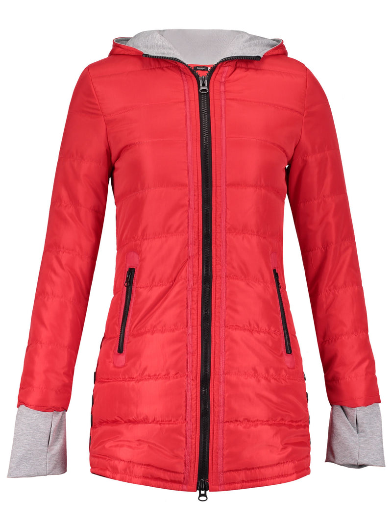 Button Thick Zipper Mid-Length Cotton Padded Jacket