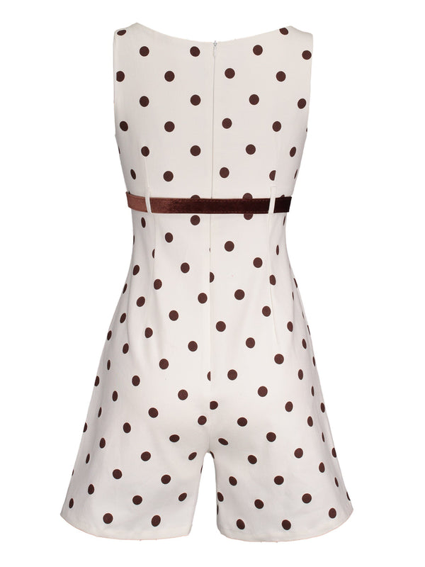 Size XL Belt Shorts Polka Dots Wide Legs Slim Jumpsuit