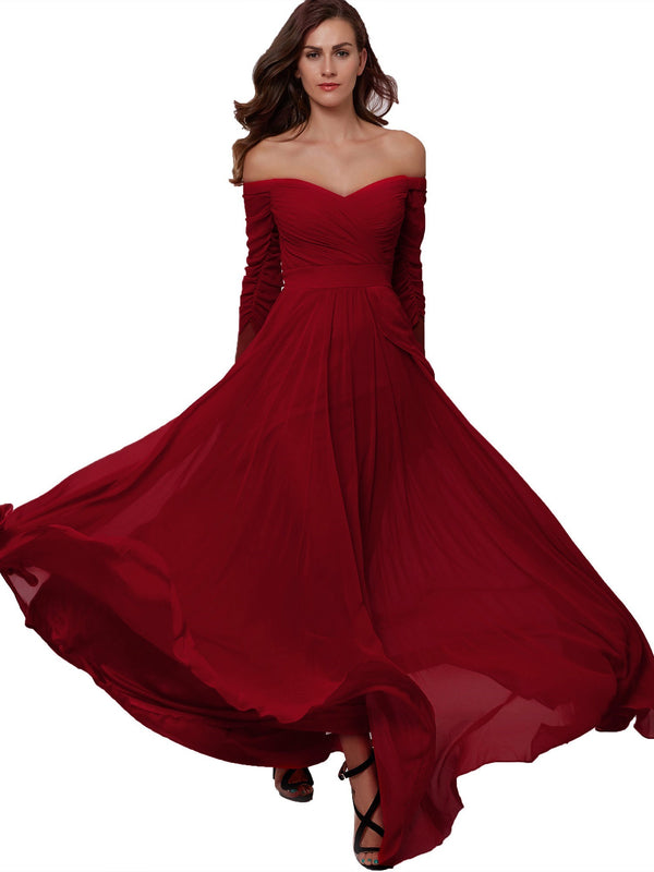 Off-The-Shoulder A-Line 3/4 Length Sleeves Pleats Formal Party Dress