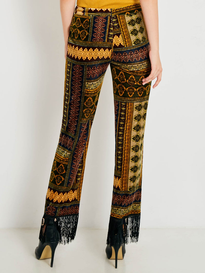 Size S Tassel Slim Geometric Full Length Bellbottoms Petite Casual Pants