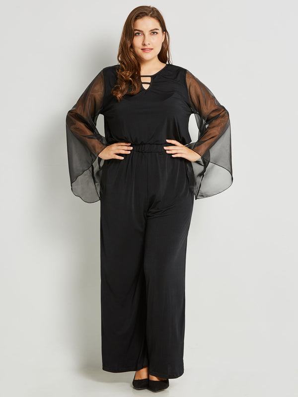Plus Size XL 3XL Full Length Backless Plain Slim Wide Legs Jumpsuit