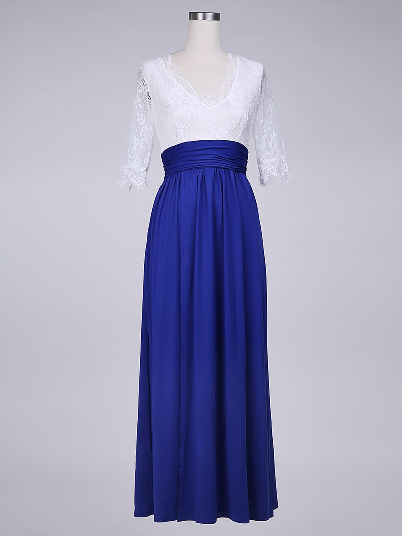Floor-Length Three-Quarter Sleeve Agraffe Spring Dress