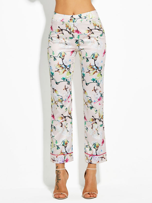 Floral Print Slim Straight Full Length Casual Pants