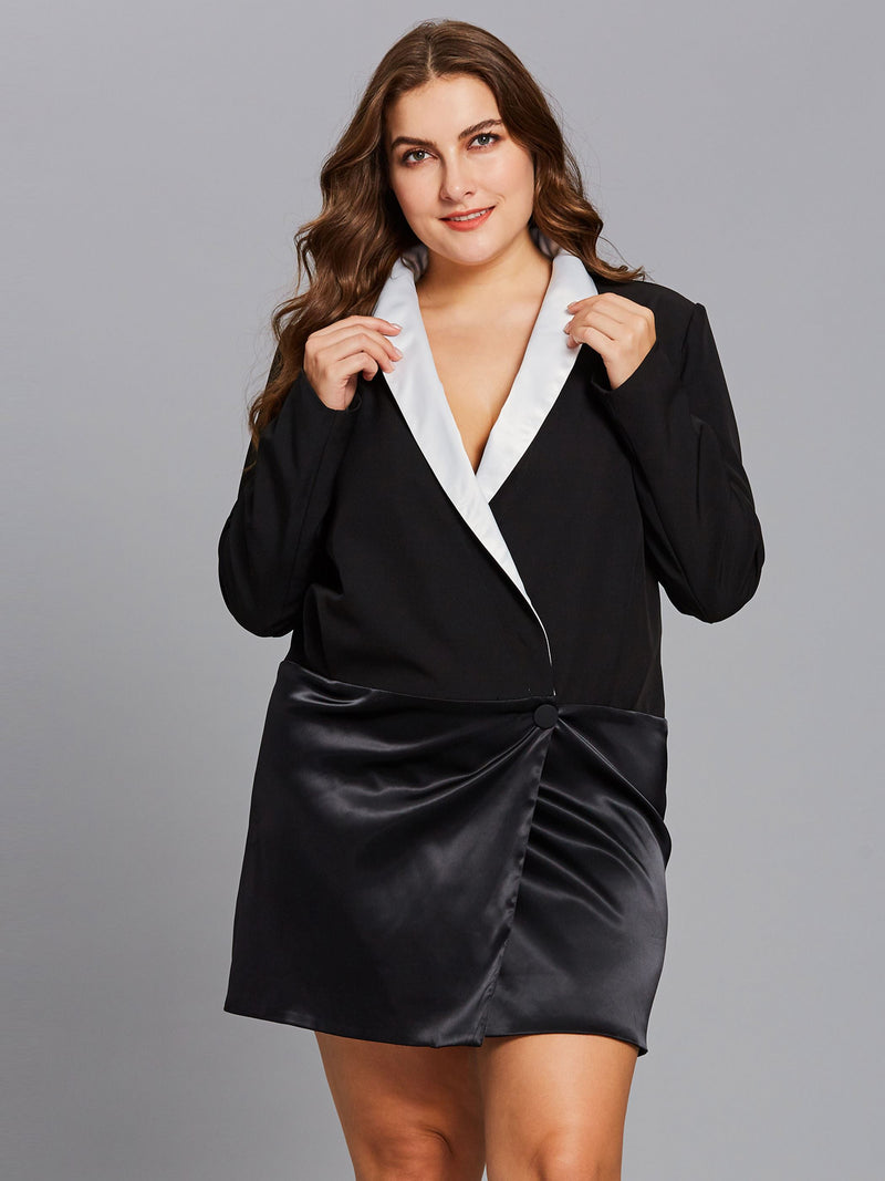 Plus Size Above Knee Long Sleeve Patchwork Color Block Regular Dress