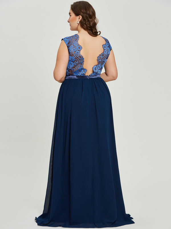 Sleeveless Floor-Length Lace V-Neck Formal Party Dress