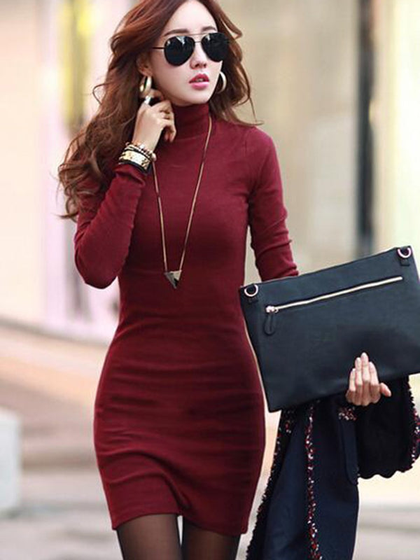 Size L XL Above Knee Long Sleeve Pullover Fall Dress