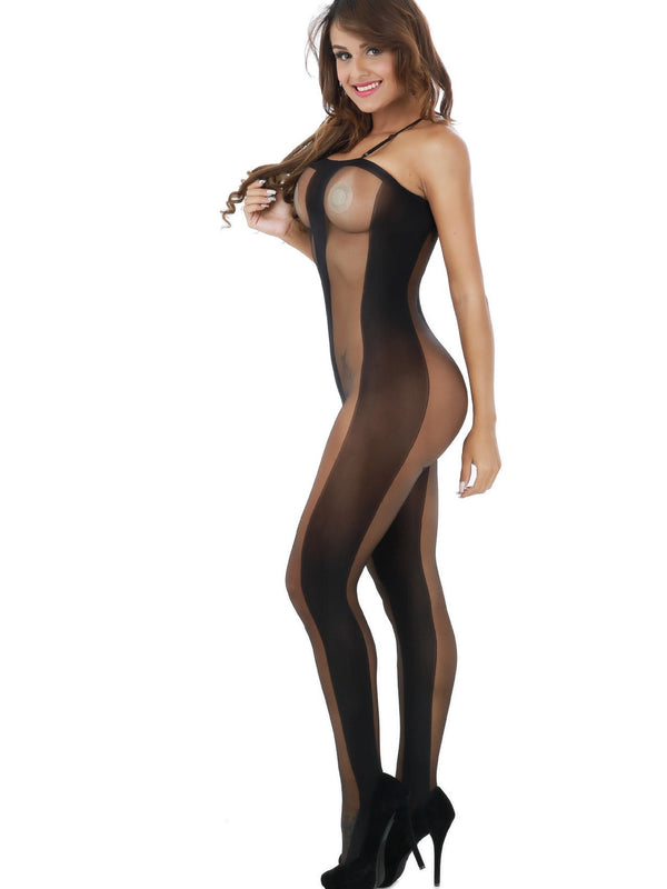 See-Through Geometric Crotchless Tight Wrap Teddies & Bodysuits