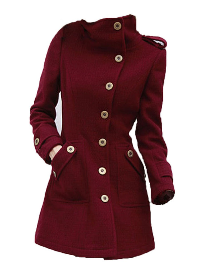 Slim Regular Single-Breasted Stand Collar Spring Overcoat