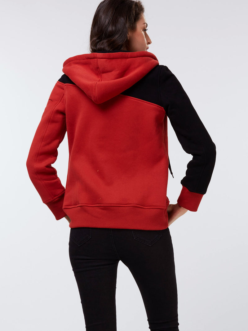 Size L XL Color Block Zipper Regular Fall Hooded Hoodie